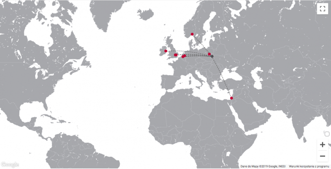 Mapa połączeń port lotniczy Lublin
